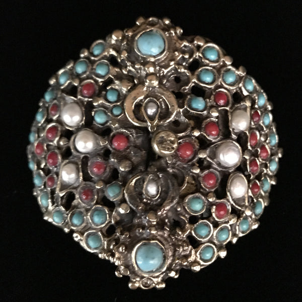 Clasp Multi Strand - Antiqued Turquoise & Pearls