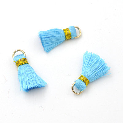 Tassel 20 mm Aqua w/ Gold
