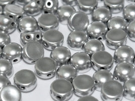 Czech Glass 6 mm 2-Hole Cabochon - Aluminium Silver
