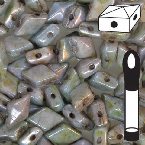 Diamond Duo 2 Hole Bead 5x8mm Chalk Lumi Green