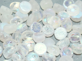 Czech Glass 6 mm 2-Hole Cabochon - Crystal Etched AB Full