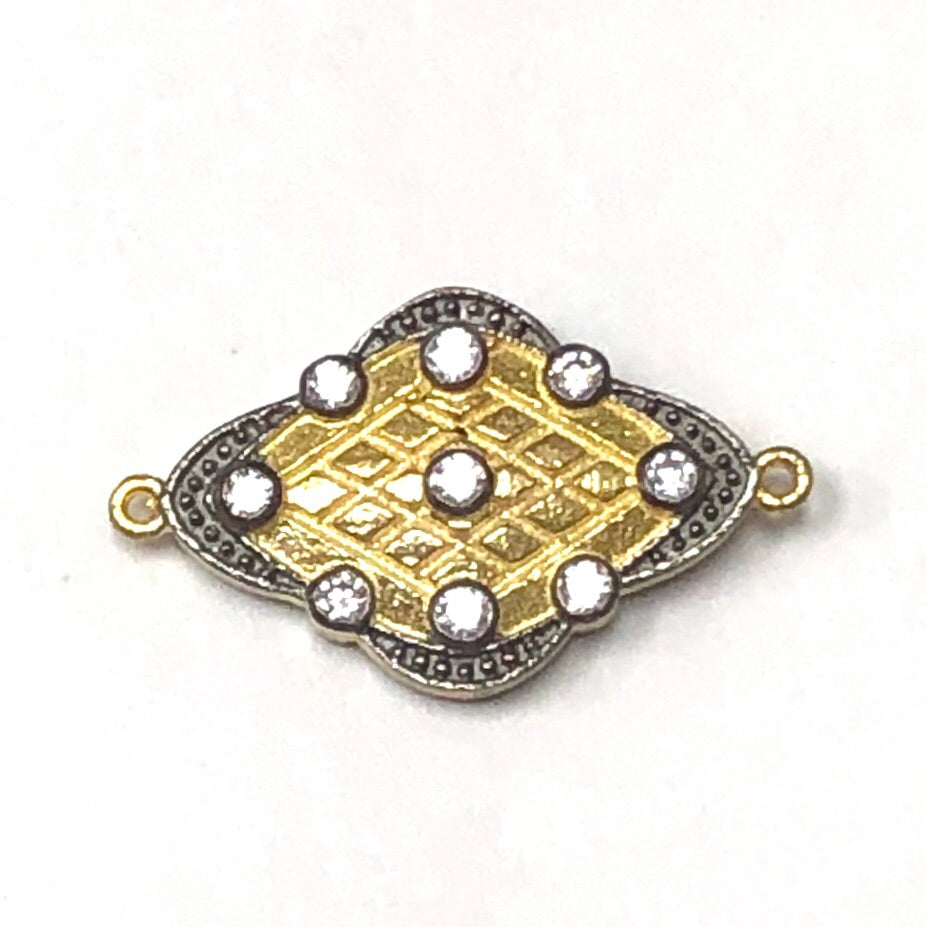 Connector Double Sided Golden & Oxidized Diamond