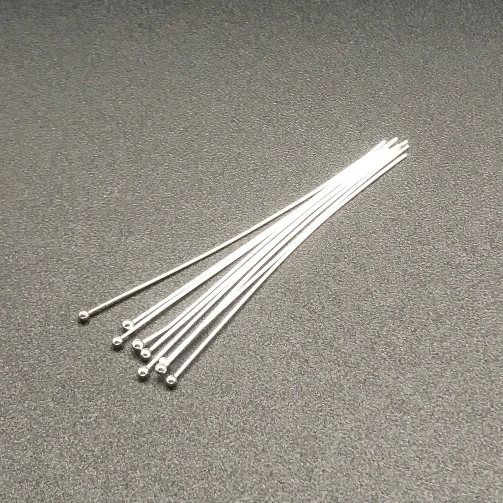 Head Pin 24G 2 INCH STERLING SILVER with Ball 1.5 mm 1PC