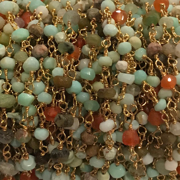 Beaded Chain - Peruvian Opal 3 x 4 mm  Faceted Rondell OS or GF