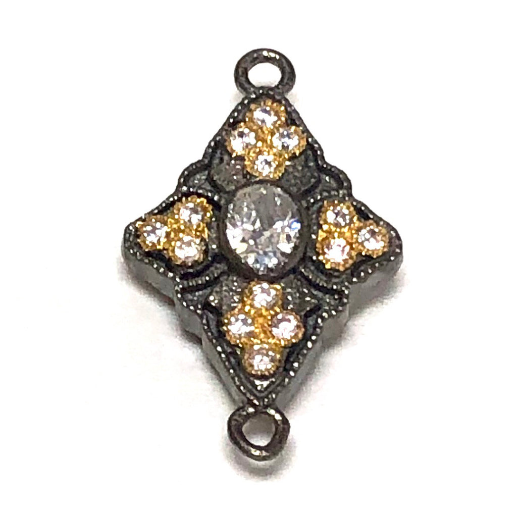 Connector Double Sided Oxidized Diamond - Small