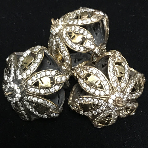 Open Work Metal Connector Bead w/Zircon