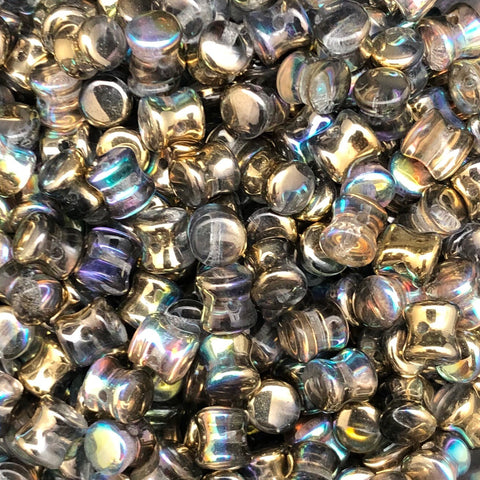 Pellet Bead 4 x 6mm Crystal Golden Rainbow