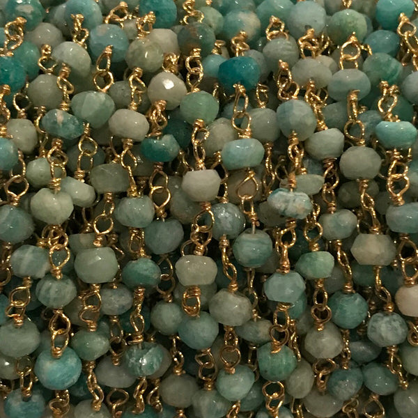 Beaded Chain - Amazonite 3 x 4 mm  Faceted Rondell SS or GF WIre