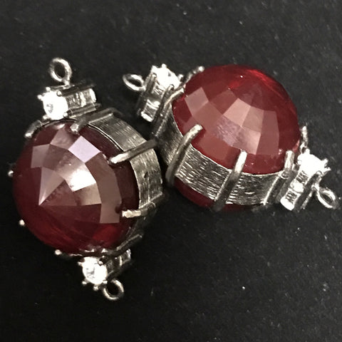 Connector - Double Sided Ball Round Bead Rich Red w/Crystal