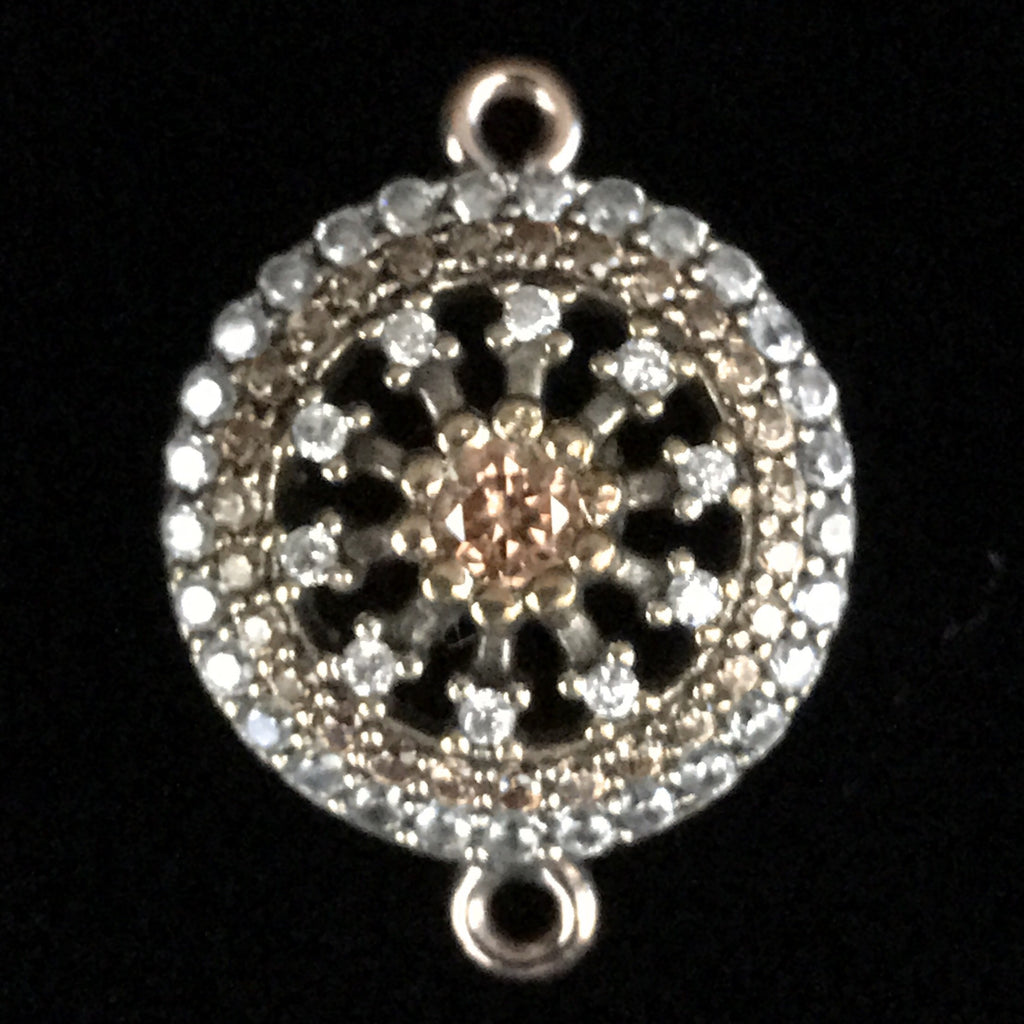 Connector - Round Fancy Flat Bead w/Crystal