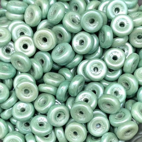 Wheel Bead 6mm Chalk White Teal Luster