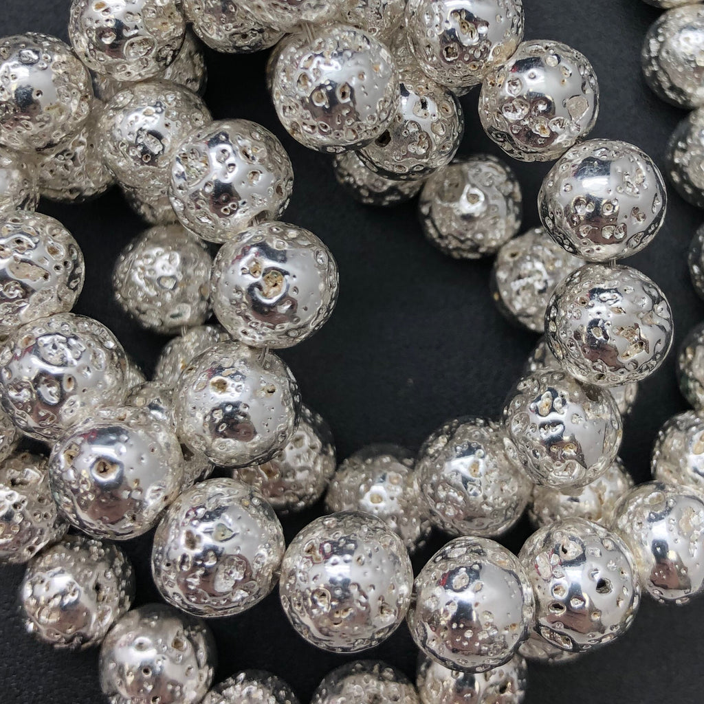 Gemstone - 8mm Silver Electroplated  Lava Round Beads