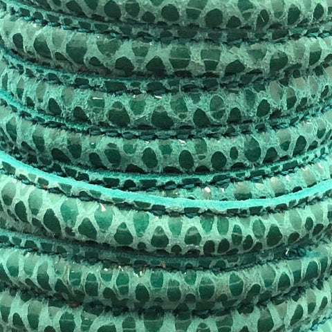 Leather Printed & Stitched 5mm Teal Green