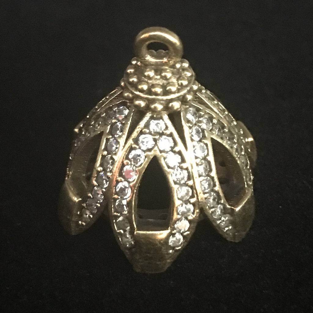 Bead Cap - Open Work Brass w/ Crystal Large