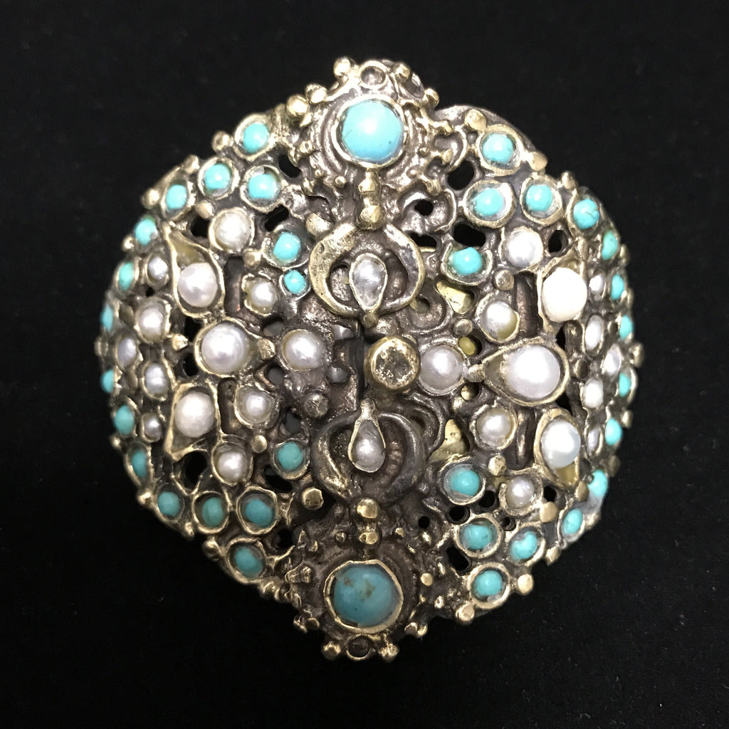Multi Stand Clasp - Antiqued Turquoise & Pearls
