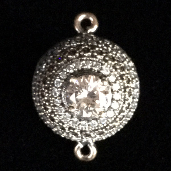 Connector - Round Fancy Ball Bead w/Crystal