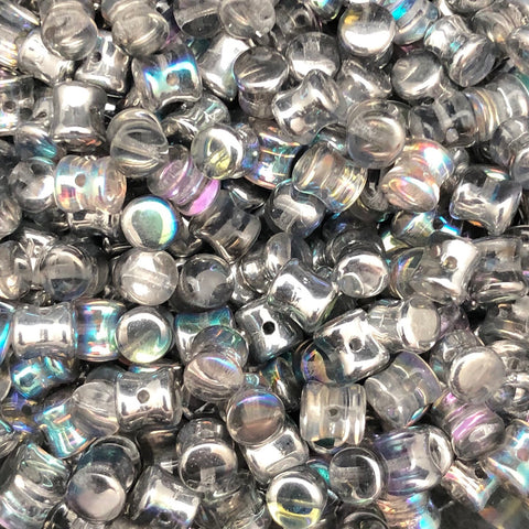 Pellet Bead 4 x 6mm Crystal Silver Rainbow