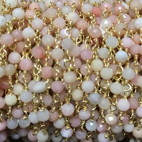 Beaded Chain - Pink Opal 3 x 4 mm  Faceted Rondell OS or GF