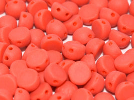 Czech Glass 6 mm 2-Hole Cabochon - OP Red Matted
