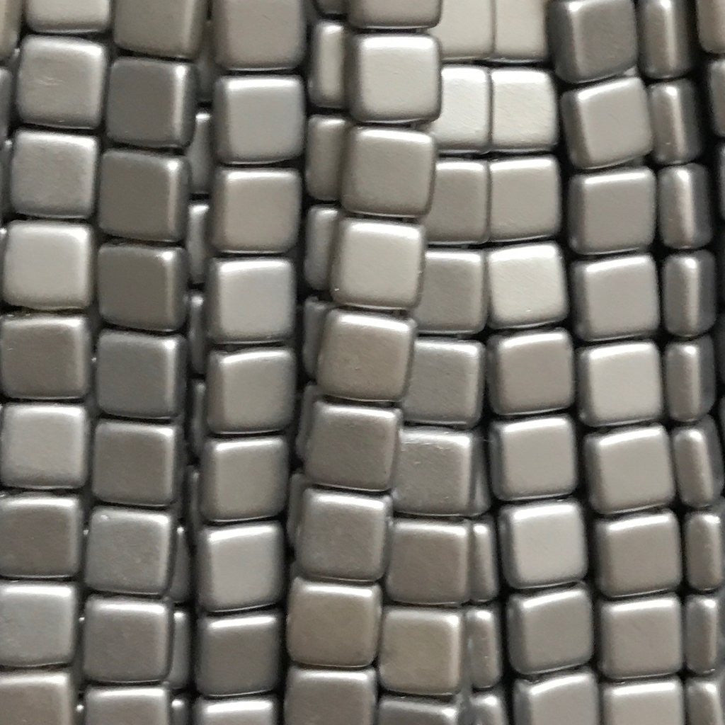 Tile Bead - Pearl Coat Silver