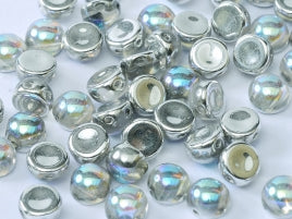 Czech Glass 6 mm 2-Hole Cabochon - Crystal Silver Rainbow