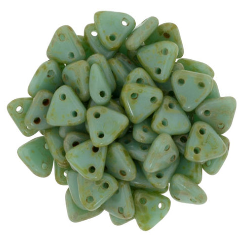 2 Hole 6mm Triangle Bead Opaque Turquoise Picasso