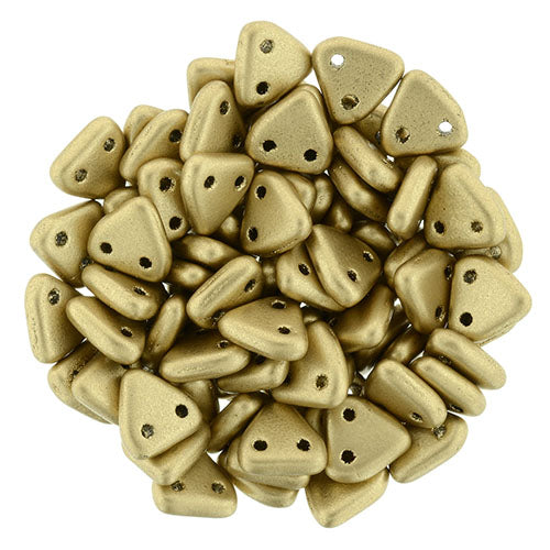 2 Hole 6mm Triangle Beads Matte Metallic Flax