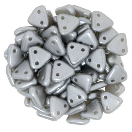 2 Hole 6mm Triangle Bead Pearl Coat Silver