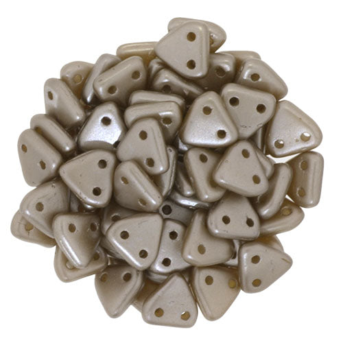 2 Hole 6mm Triangle Bead Pearl Coat Brown Sugar