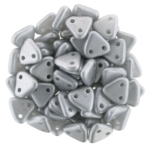 2 Hole 6mm Triangle Bead Satin Silver