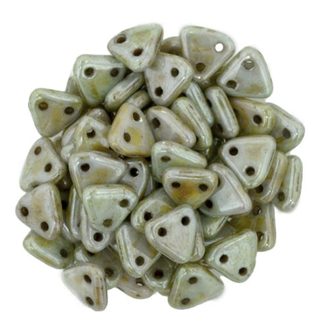 2 Hole 6mm Triangle Beads Opaque Luster Green