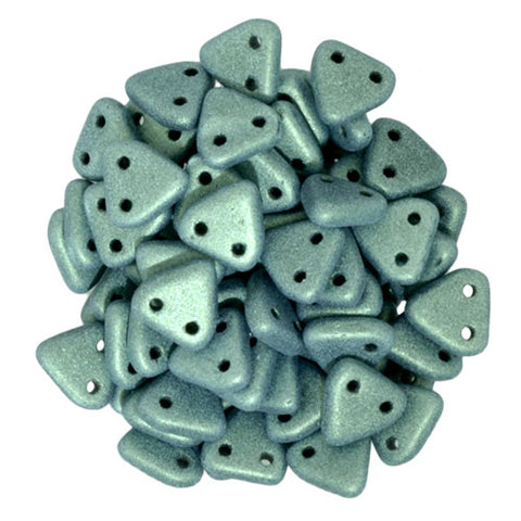2 Hole 6mm Triangle Beads Metallic Suede Light Green