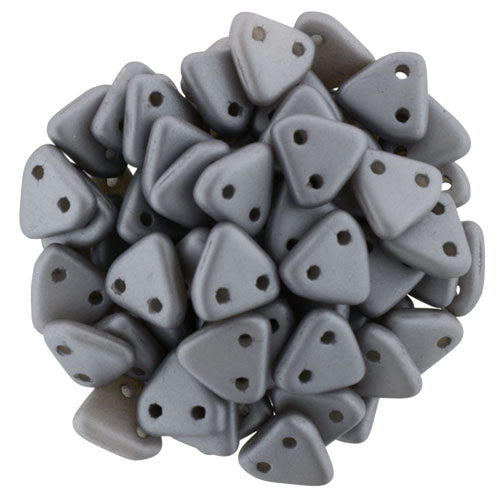 2 Hole 6mm Triangle Bead Satin Grey