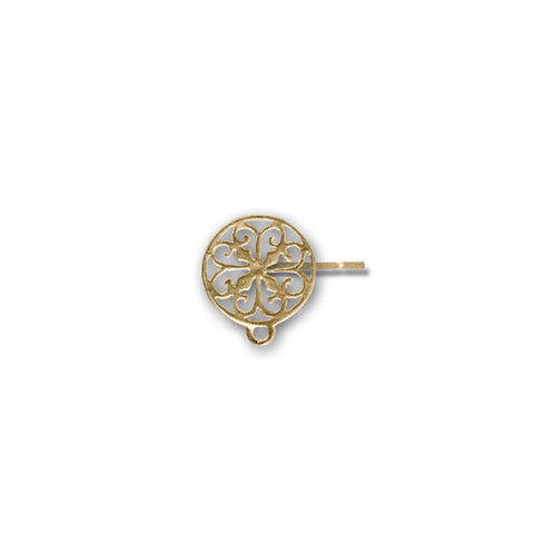 Earring POSTS 12mm Filigree with Ring Gold Plate over Sterling