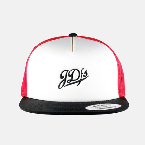 Red/White/Black 5 Trucker Snapback Hat