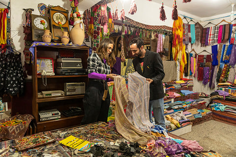 Picking Out Fabric in Turkey