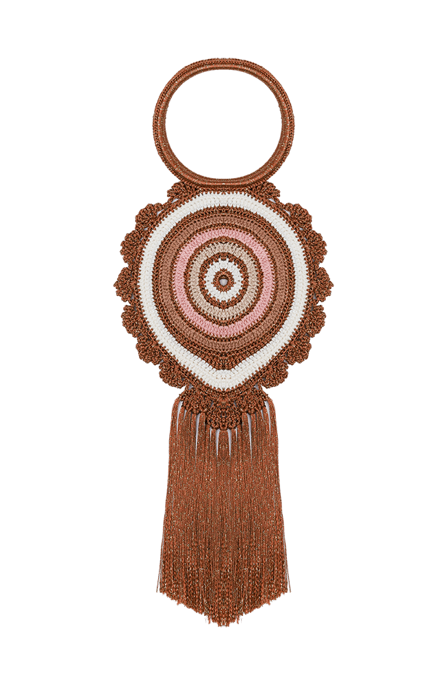 Peacock fringed bag pink