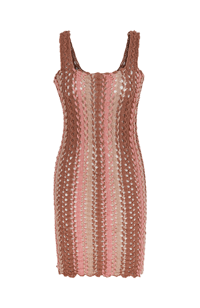 Finch crochet mini dress pink