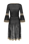 Myna long sleeve crochet dress black