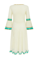 Myna long sleeve crochet dress white