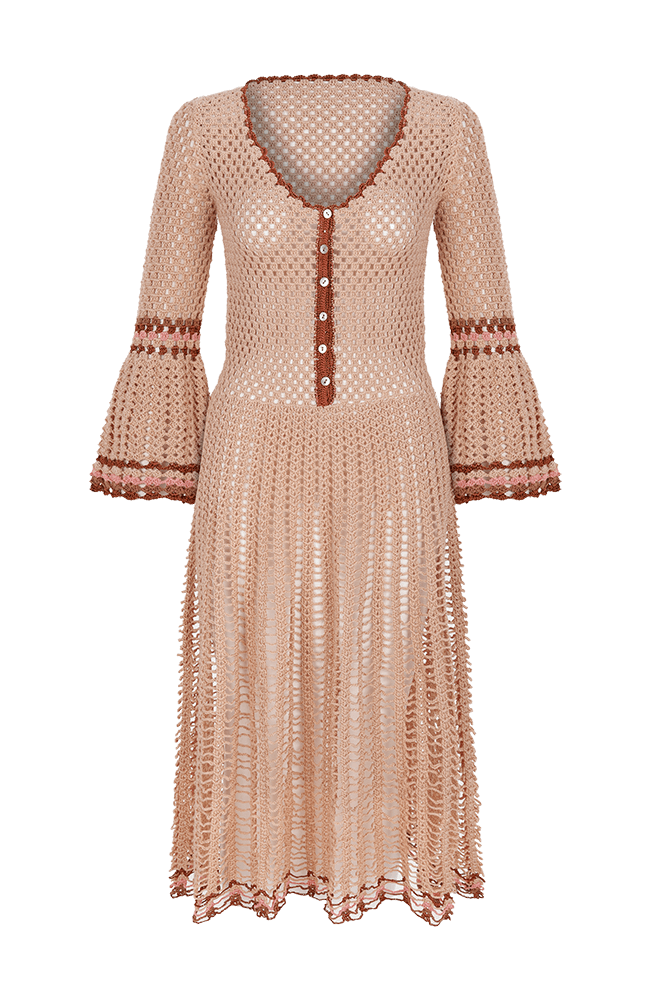 Myna long sleeve crochet dress pink