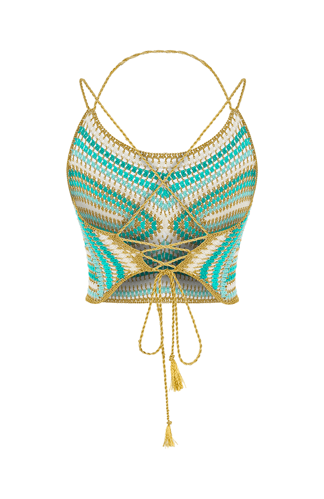 ALouette halter top turquoise  back view