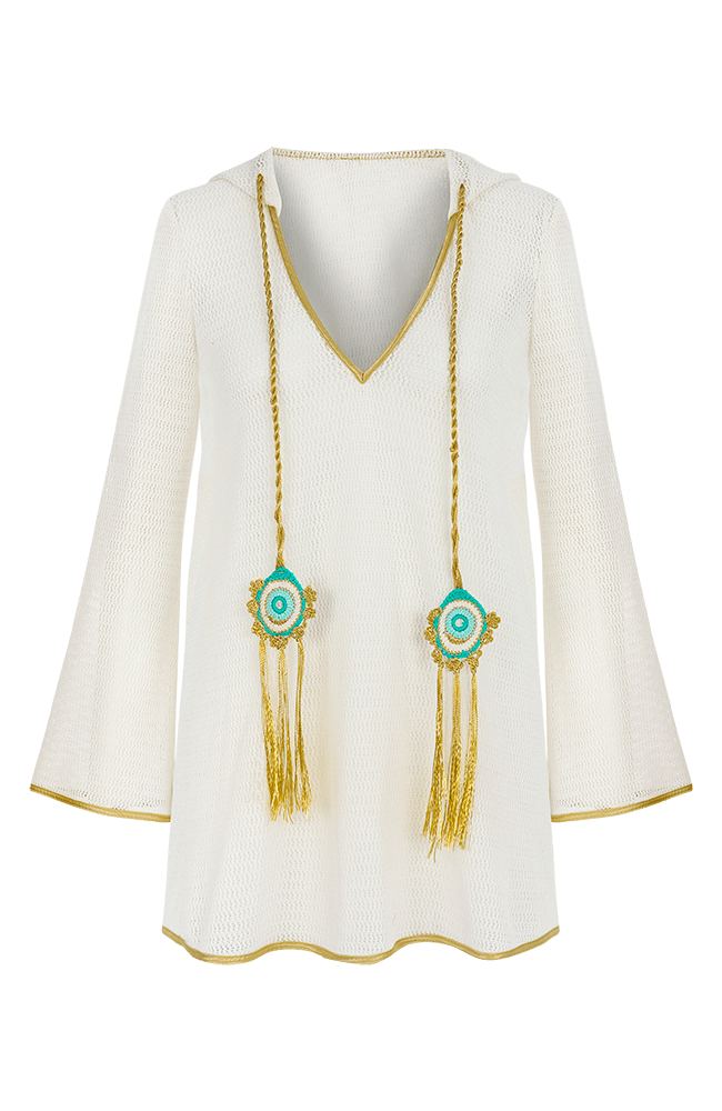 Peregrine white hooded mini coverup cotton lace with peacock tassels