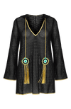 Peregrine black mini hooded coverup cotton lace with peacock tassels