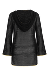 Peregrine black hooded mini coverup cotton lace with peacock tassels