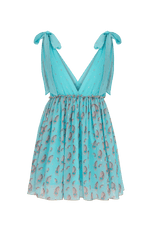 Sparrow blue  sleeveless mini dress with feather print and tie shoulders