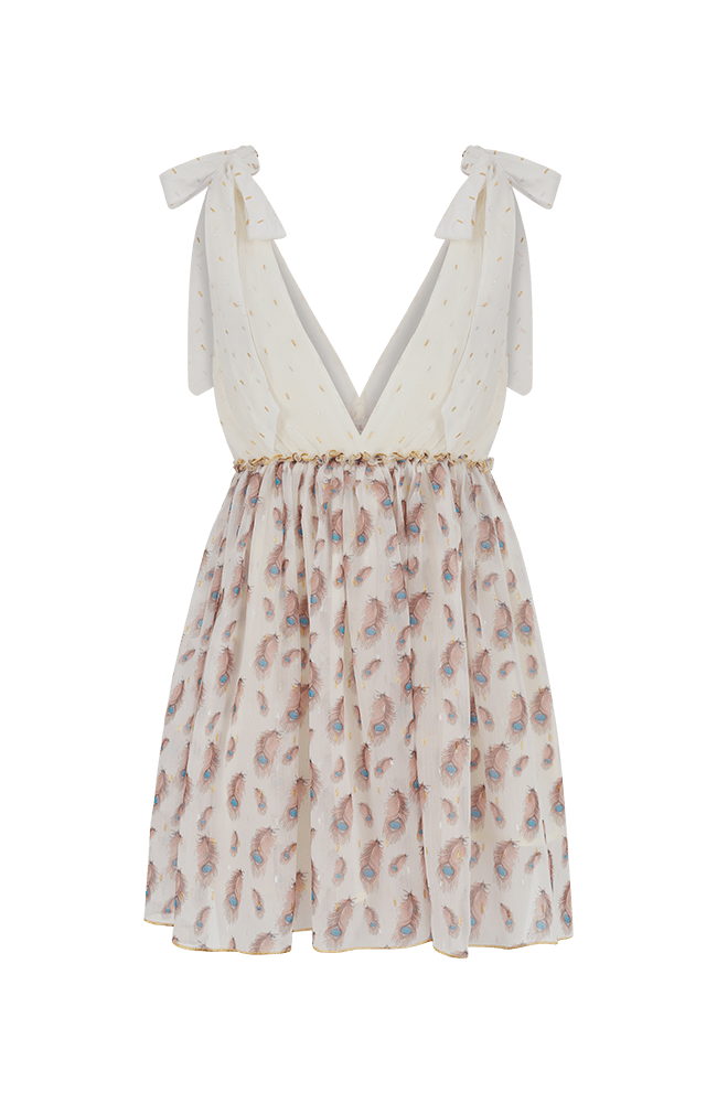 Sparrow white sleeveless mini dress with feather print and tie shoulders