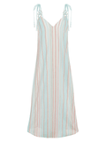 Striped long A-line beach dress with shoulder detail