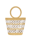 Striped Bucket bag with Crochet circles and plastic insert