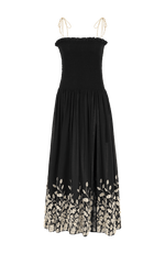 Dove smocked maxi dress black